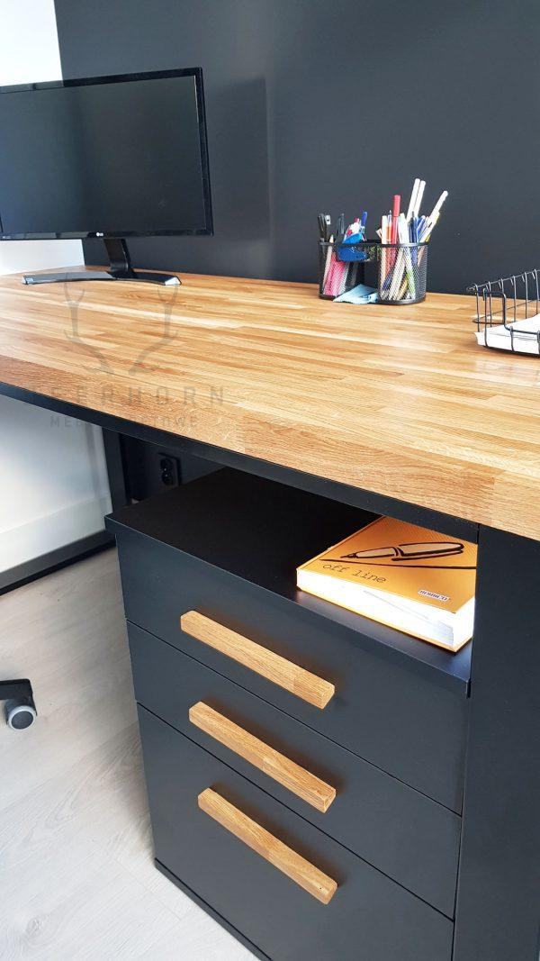 biurko dębowe z szufladami