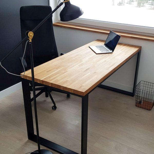 biurko industrialne loft z dębowym blatem