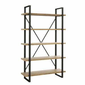 regał loftowy z drewna i metalu