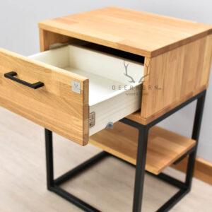 szafka nocna z drewna i metalu