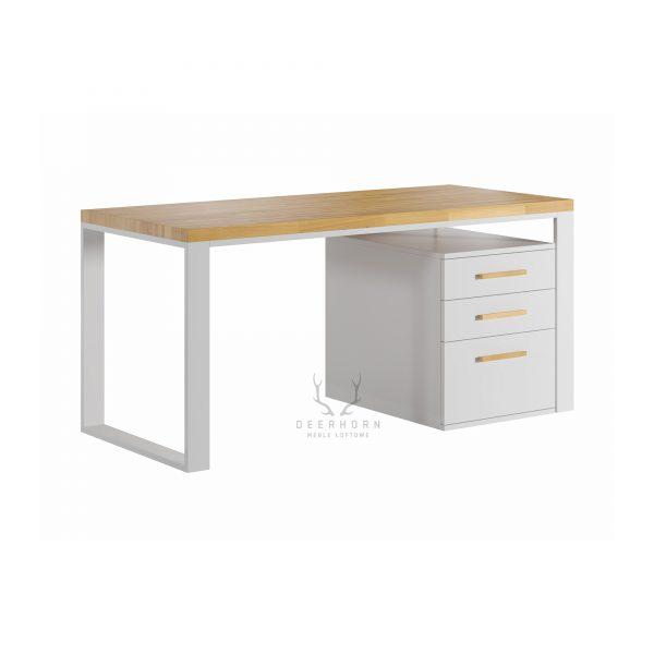 białe biurko z drewnianym blatem