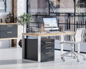 biurko z drewnianym blatem białe