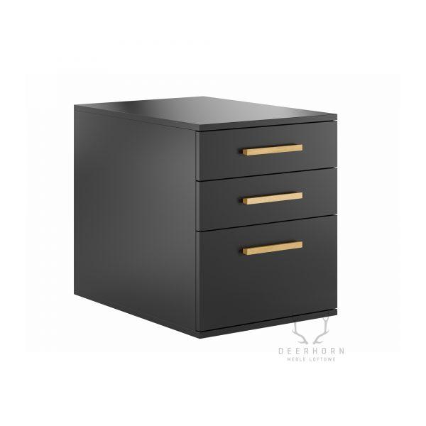 czarny kontener z szufladami do biurka