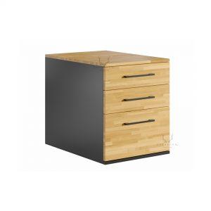 drewniany kontenerk z szufladami