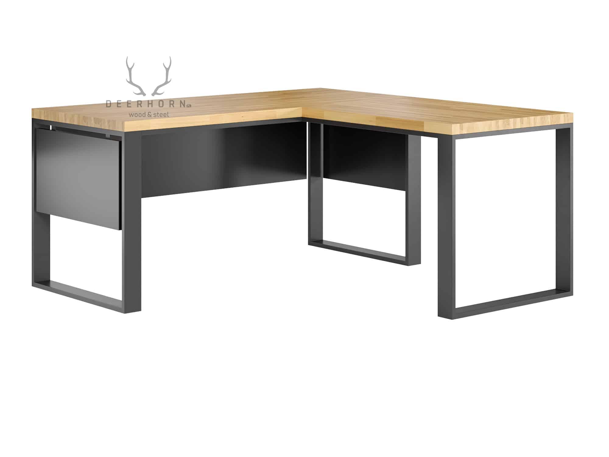 Białe biurko narożne z drewnianym blatem loft