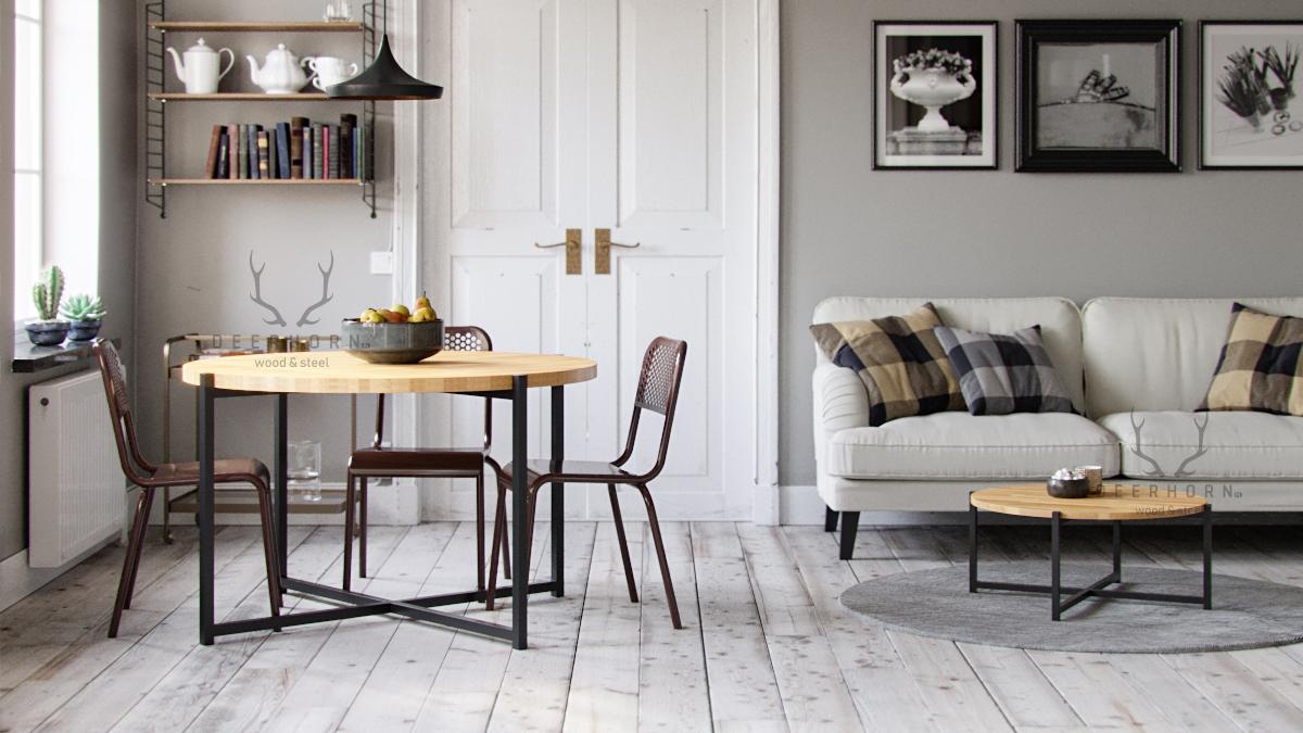 okrągły stół z drewnianym blatem