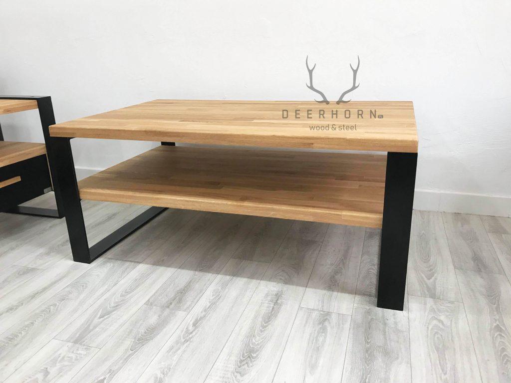 stolik kawowy z drewna i metalu