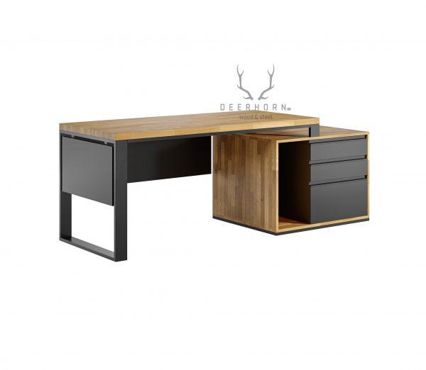 biurko premium z drewnianym blatem