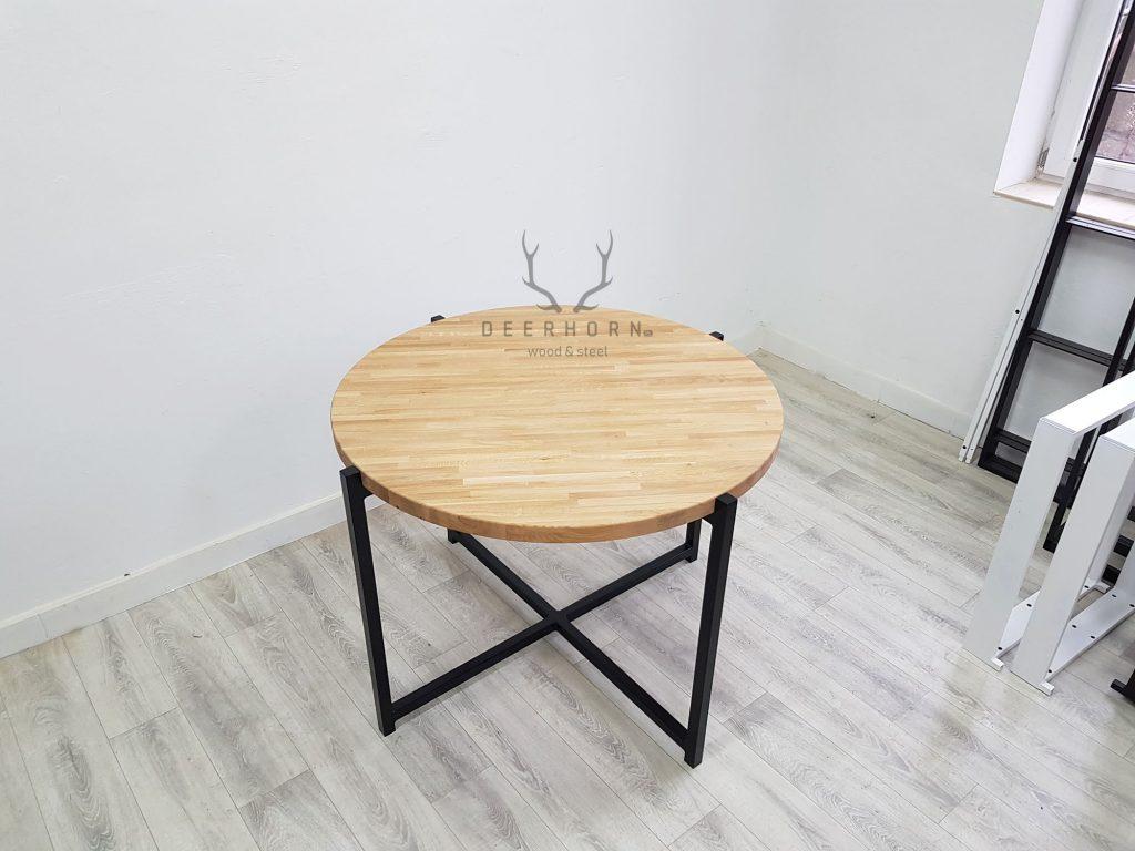 okrągły stół z dębowym blatem