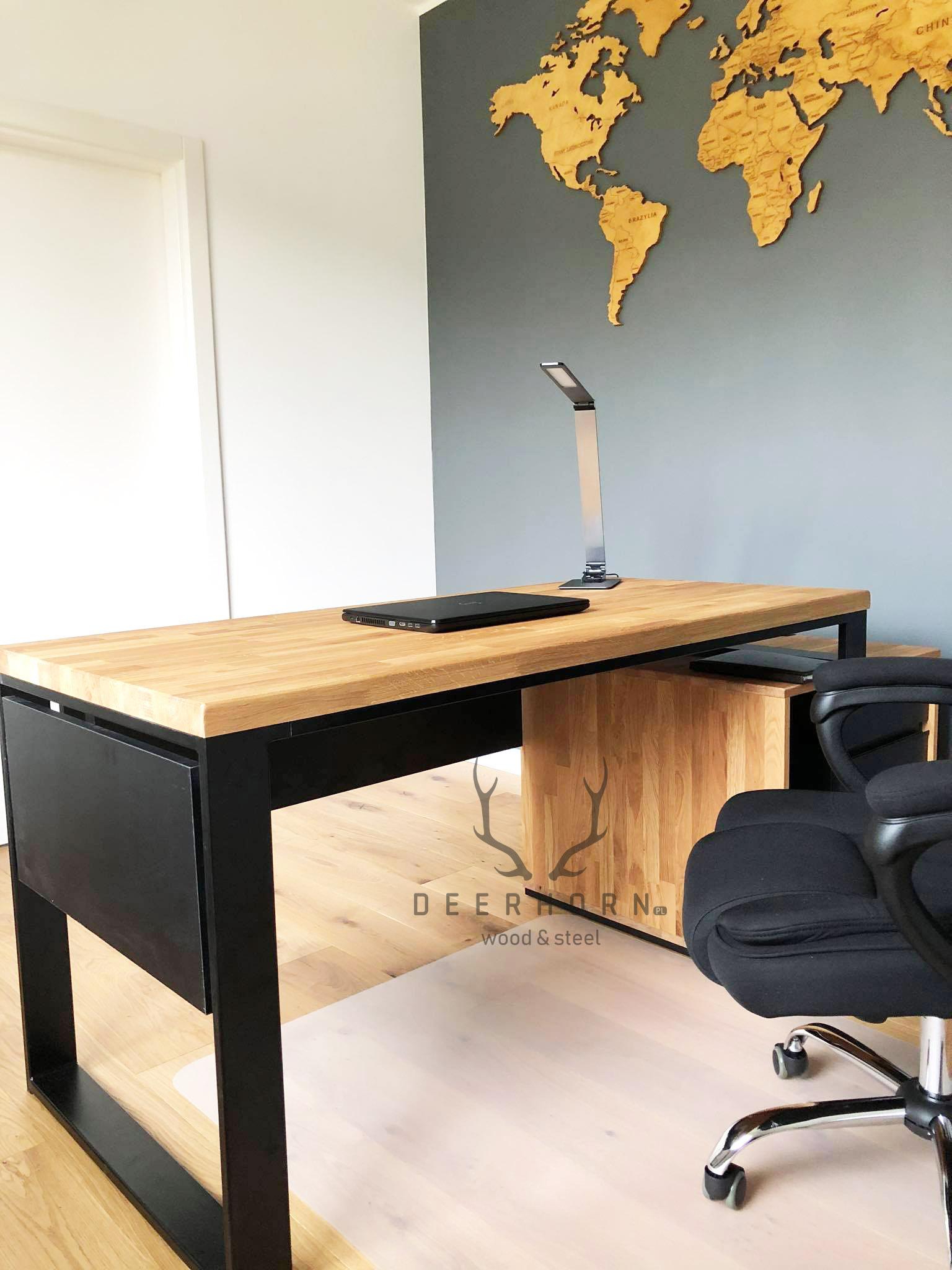 Modne biurko z drewnianym blatem office plus   Deerhorn meble