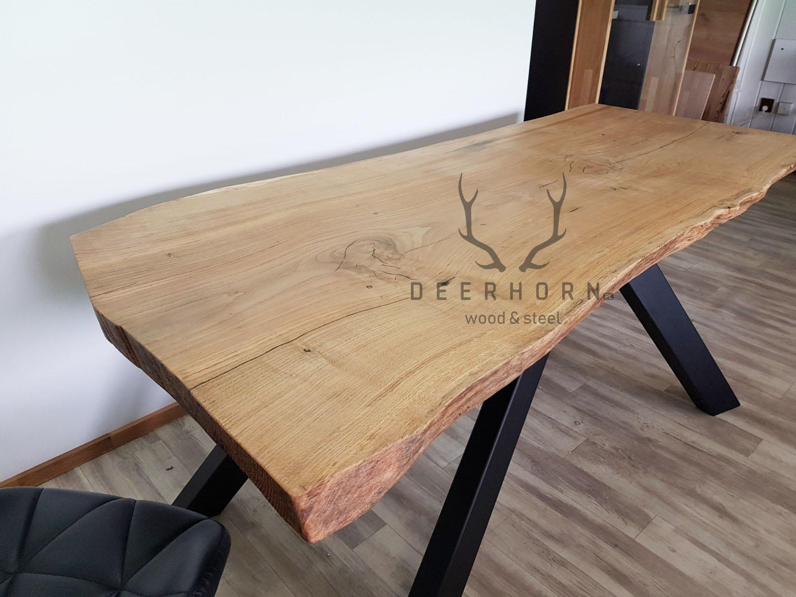 stół z dębowym blatem monolit