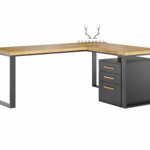 biurko narożne loft zdrewnianym blatem