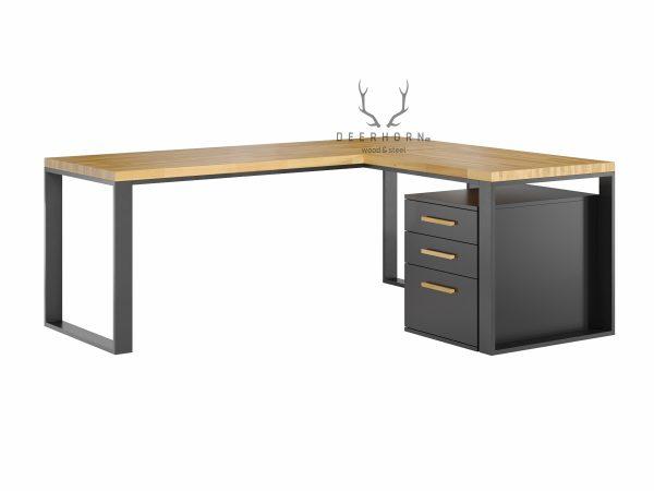 biurko narożne loft z drewnianym blatem