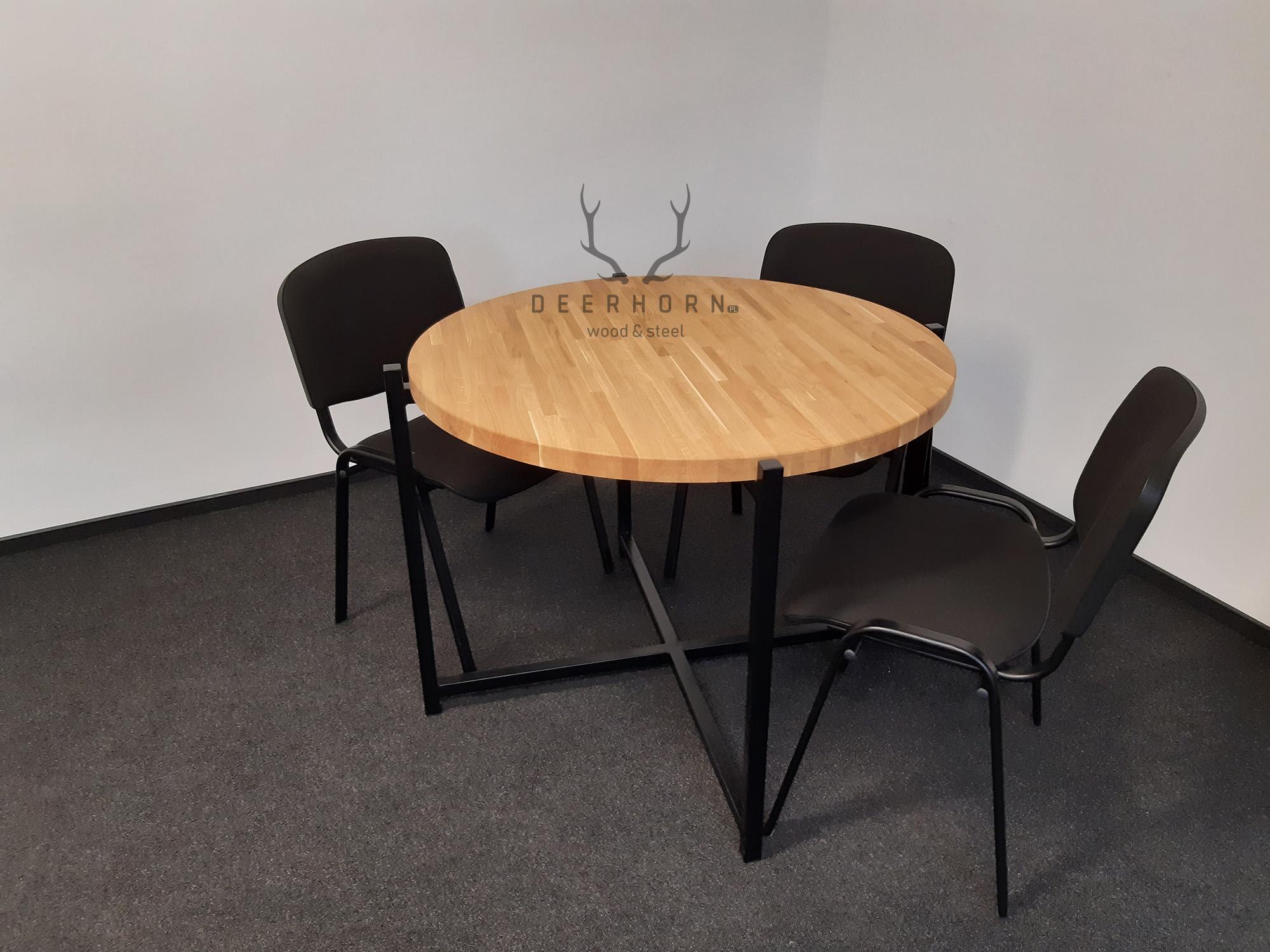 okrągły stół z drewna i metalu