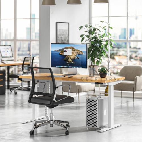 białe biurko zregulacją wysokości