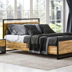 sypialnia loftowa drewno metal