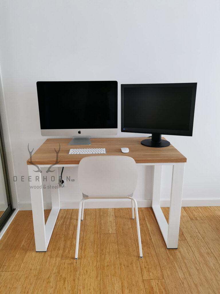 białe małe biurko loft