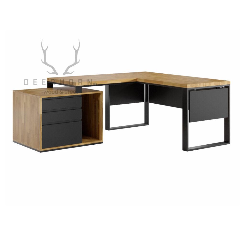 biurko z drewnianym blatem loft narożne