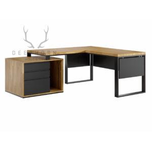 biurko zdrewnianym blatem loft narożne