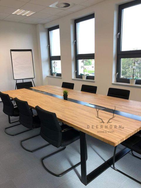 stół konferencyjny zdrewna imetalu loft