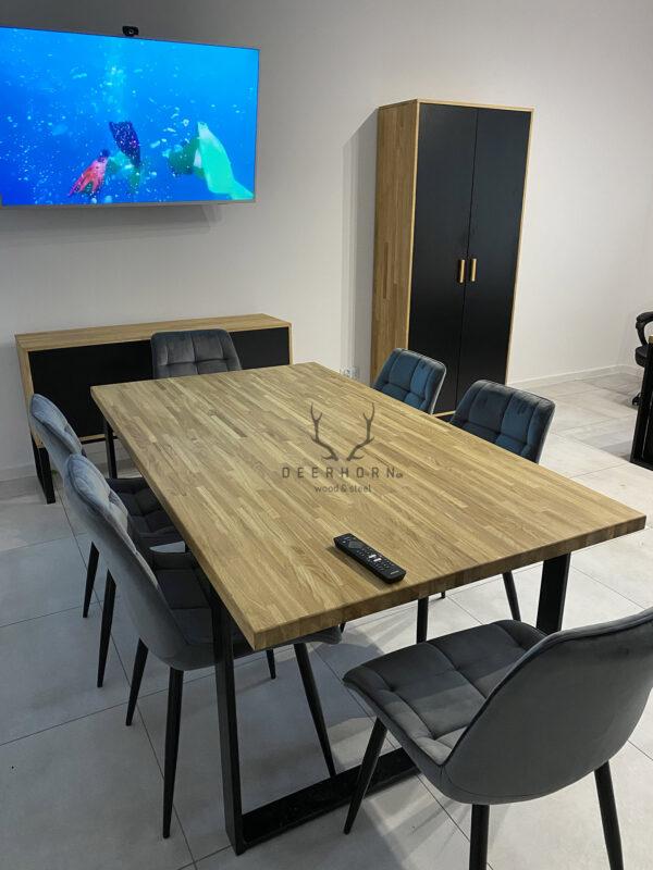 stół konferencyjny z drewnianym blatem loft