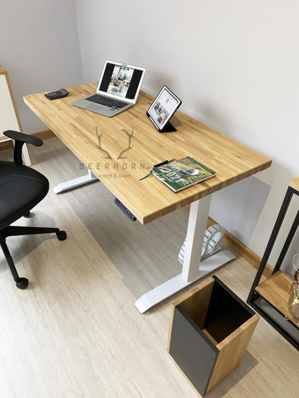 biale biurko z regulacja industrial