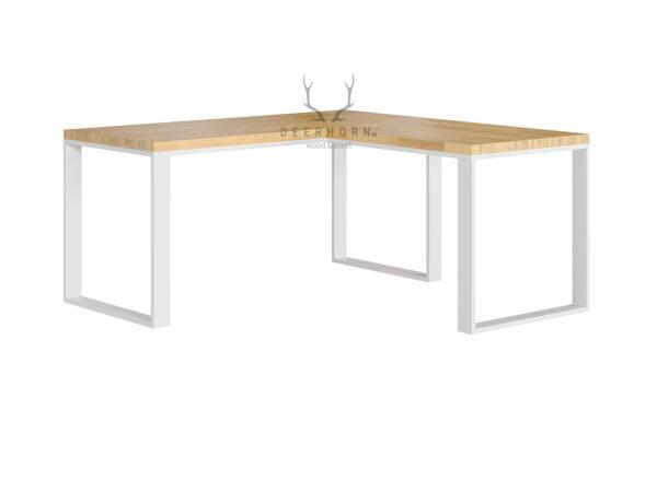 białe biurko narożne loftowe