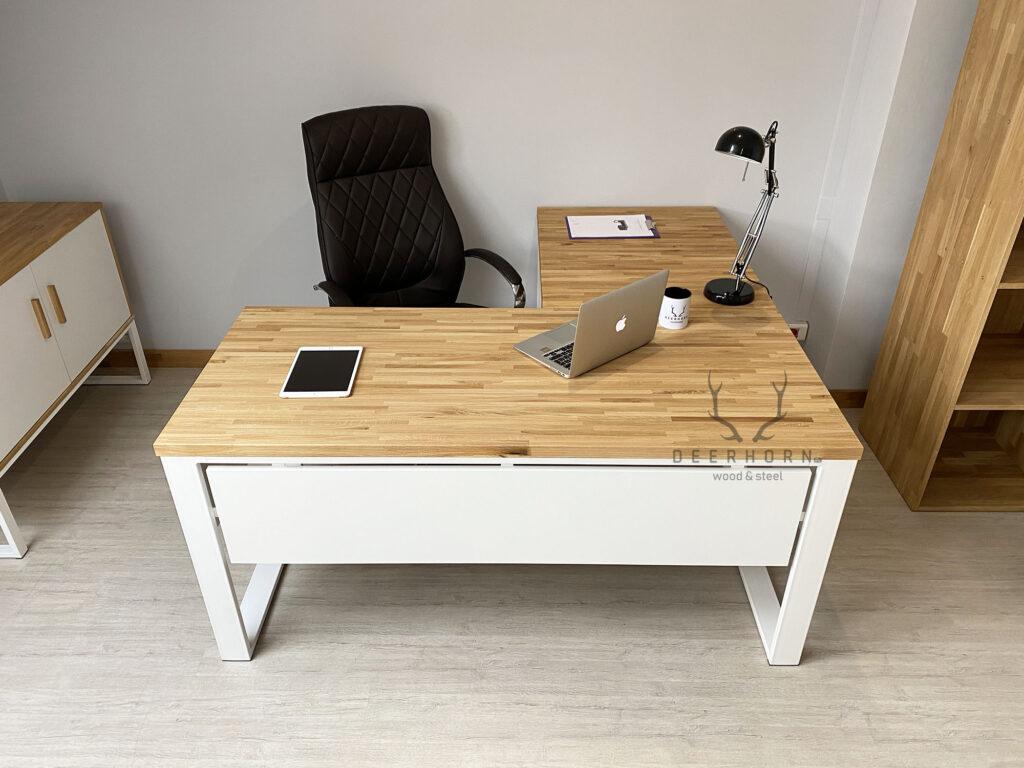 biurko białe narożne loftowe