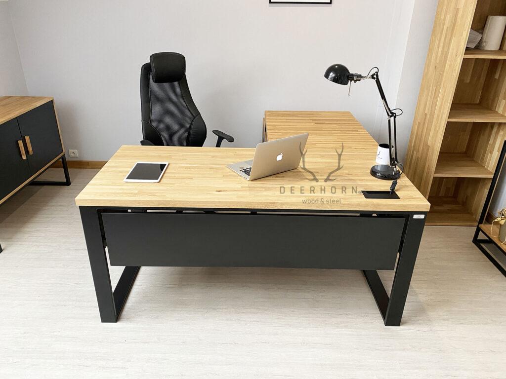 biurko narożne czarne loft