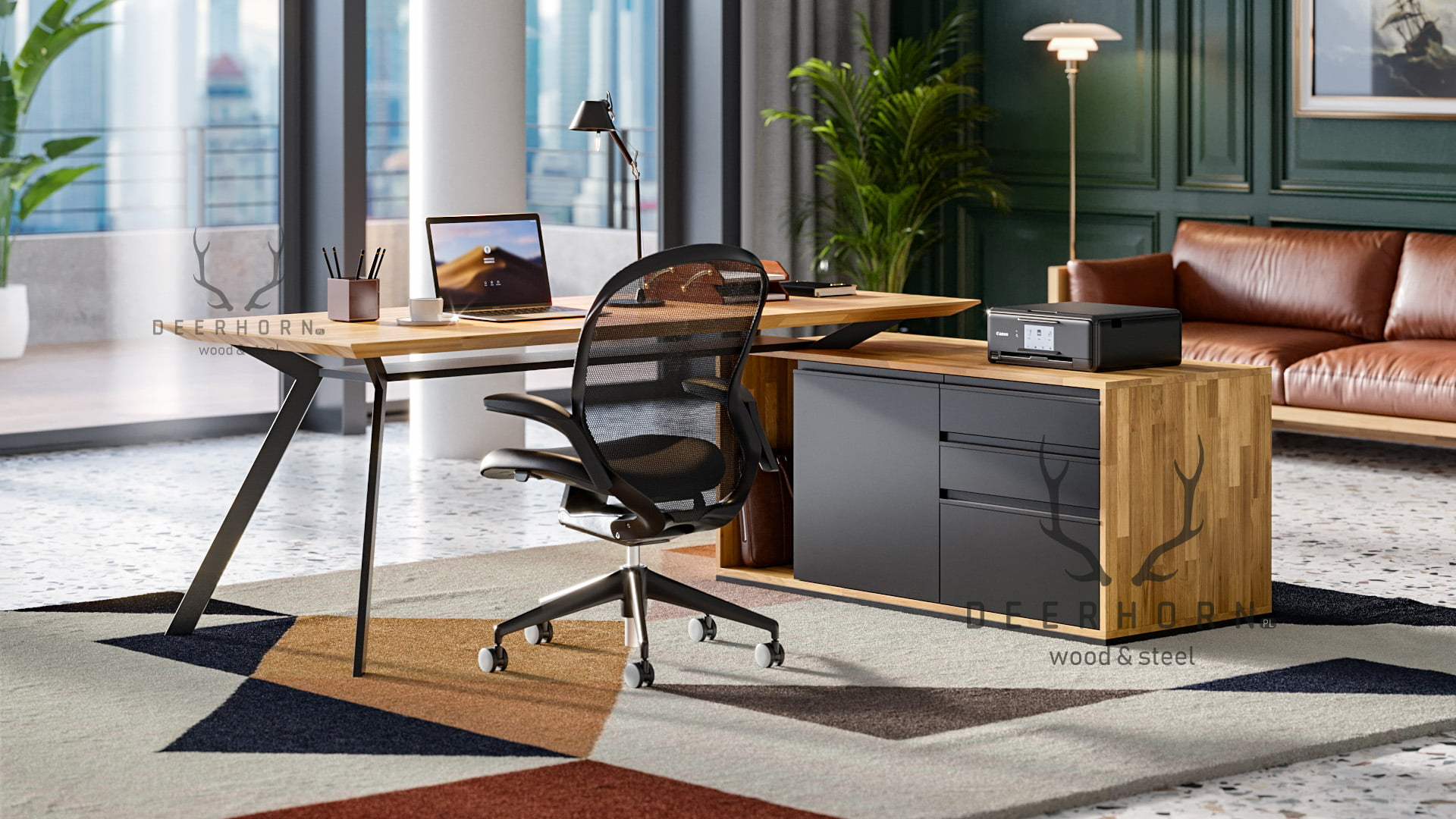 biurko gabinetowe narożne premium