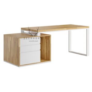 białe biurko z szufladami