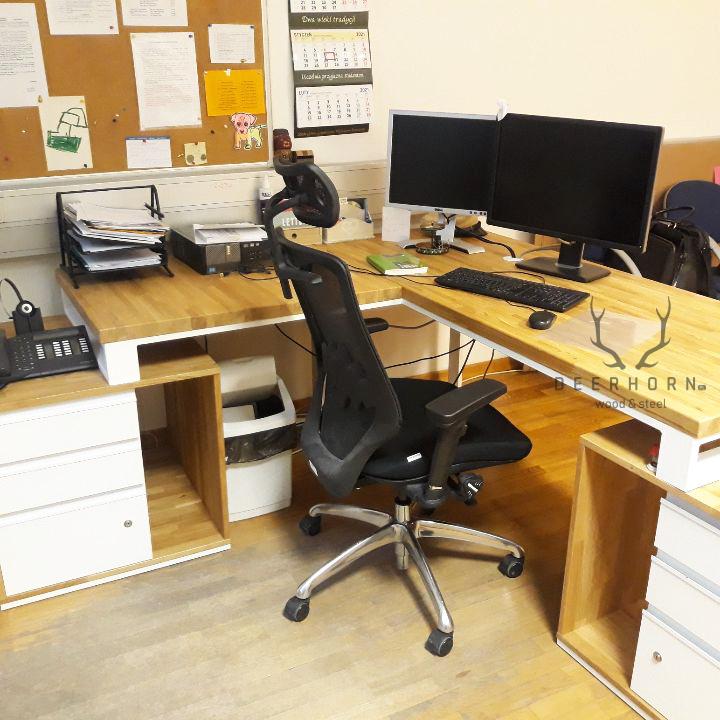 białe narożne biurko loftowe