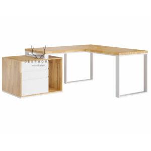 białe narożne biurko
