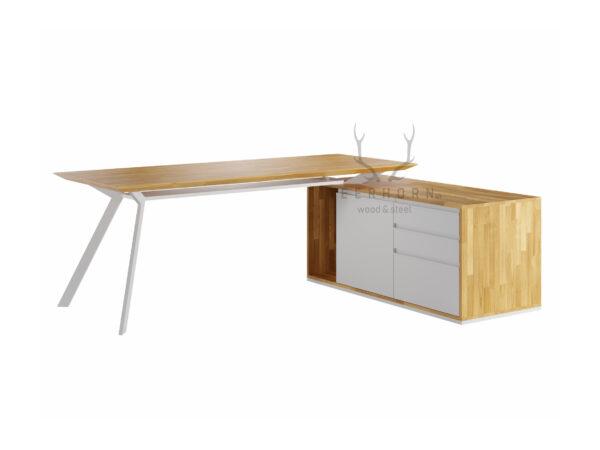 biurko narożne białe z ukośnymi nogami