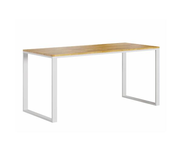 białe biurko z płaskim blatem