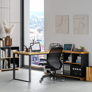 biurko narożne z miejscem na segregatory