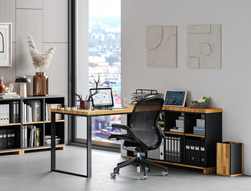 biurko narożne zmiejscem nasegregatory