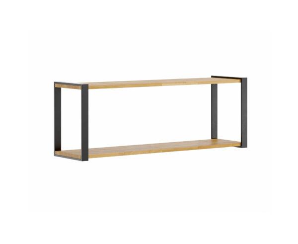 czarna loftowa półka z drewna i metalu
