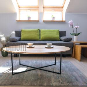 owalny stolik kawowy loft