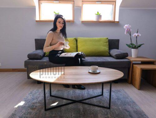 owalny stolik loftowy
