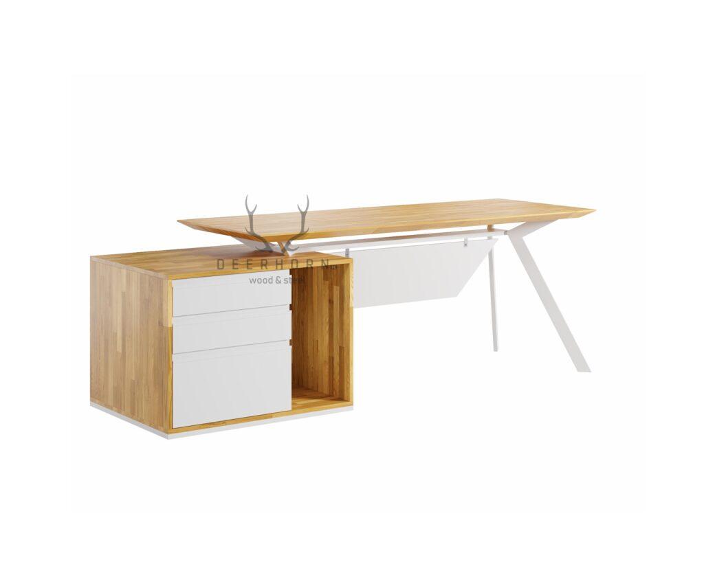 białe biurko gabinetowe