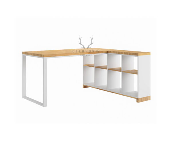 białe biurko narożne loft