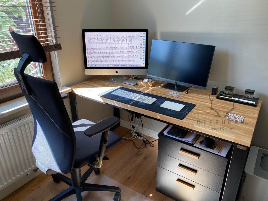 biurko industrialne zszufladami