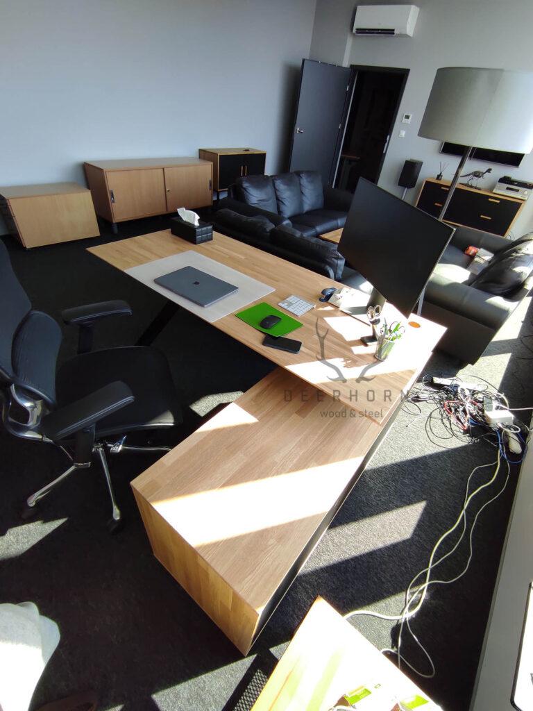 biurko narożne zdrewna imetalu