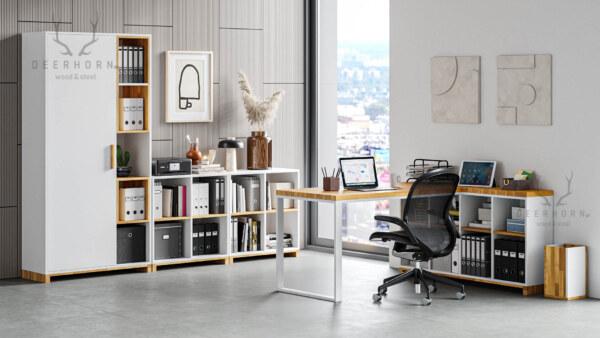 zestaw białych mebli biurowych