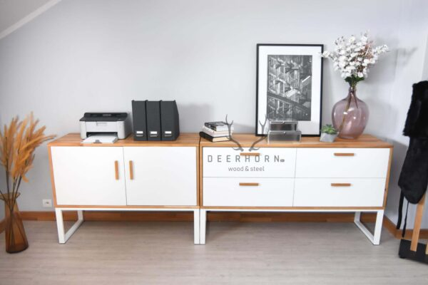 biała komoda biurowa