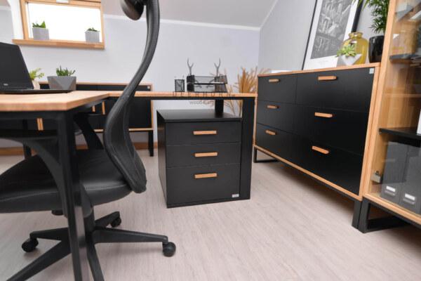 biurko narożne z drewna i metalu