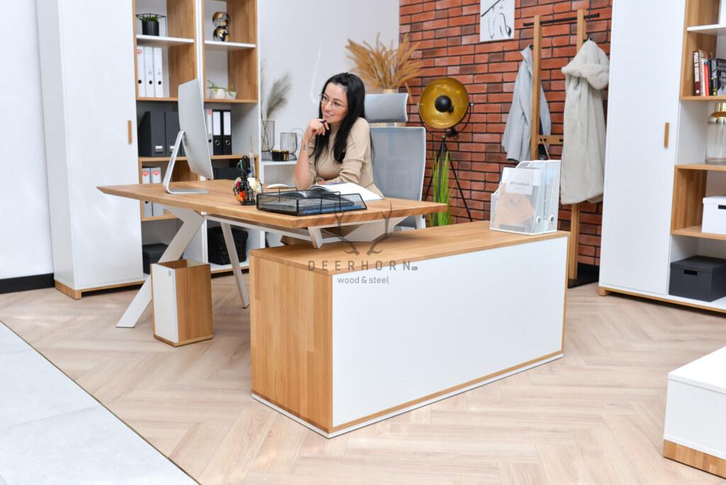 białe biurko narożne zszufladami