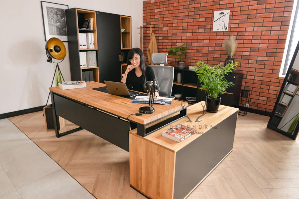 narożne biurko industrialne